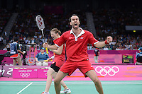 Fischer and Pedersen, Denmark, Mixed Doubles, Celebrating victory over Thailands Prapakamol and Thoungthongkam, Olympic Badminton London Wembley 2012