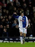 Photo: Jed Wee.<br /> Blackburn Rovers v Manchester United. Carling Cup. Semi Final, 1st Leg. 11/01/2006.<br /> <br /> Blackburn's Morten Gamst Pedersen celebrates after scoring their equaliser.