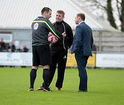 Weston's Manger Micky Bell  and Doncaster Rovers Manager, Paul Dickov talk with the referee about the pitch.- Photo mandatory by-line: Alex James/JMP - Mobile: 07966 386802 - 08/11/2014 - SPORT - Football - Weston-super-Mare - Woodspring Stadium - Weston-super-Mare v Doncaster - FA Cup - Round One