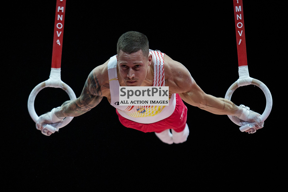 Nestor Abad of Spain competes in the Gymnastics Team Men Qualification - 2018 European Championships Glasgow, 9 August 2018. (c) Adam Oliver | sportPix.org.uk