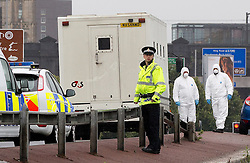 © licensed to London News Pictures. Salford, UK 18/7/2011. Hijackers forced security guards to release two prisoners from a G4S security van during the rush hour in Manchester this (Monday) morning. The Trinity Way bridge, linking Salford and Manchester, the scene of the incident, was closed off for foresnsic examiners. Please see special instructions for usage rates. Photo credit should read Joel Goodman/LNP
