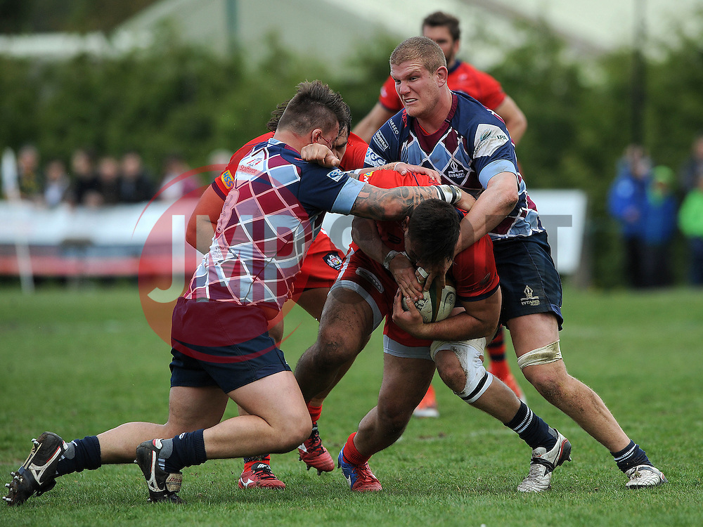 Bristol Rugby Flanker Jack Lam is challenged by Rotherham Titans Prop Mark Tampin and Rotherham Titans Lock Barney Maddison - Photo mandatory by-line: Dougie Allward/JMP - Mobile: 07966 386802 - 10/05/2015 - SPORT - Rugby - Sheffield - Abbeydale Dale Sports - Rotherham Titans v Bristol Rugby - Greene King IPA Championship