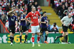 Bristol City's Luke Ayling cuts a dejected figure - Photo mandatory by-line: Dougie Allward/JMP - Mobile: 07966 386802 - 25/01/2015 - SPORT - Football - Bristol - Ashton Gate - Bristol City v West Ham United - FA Cup Fourth Round
