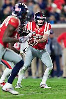 OXFORD, MS - NOVEMBER 26:  Shea Patterson #20 of the Mississippi Rebels makes a hand off during a game against the Mississippi State Bulldogs at Vaught-Hemingway Stadium on November 26, 2016 in Oxford, Mississippi.  The Bulldogs defeated the Rebels 55-20.  (Photo by Wesley Hitt/Getty Images) *** Local Caption *** Shea Patterson