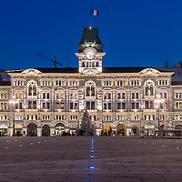 Trieste, Italy - Piazza Unità d'Italia with the Town Hall at night