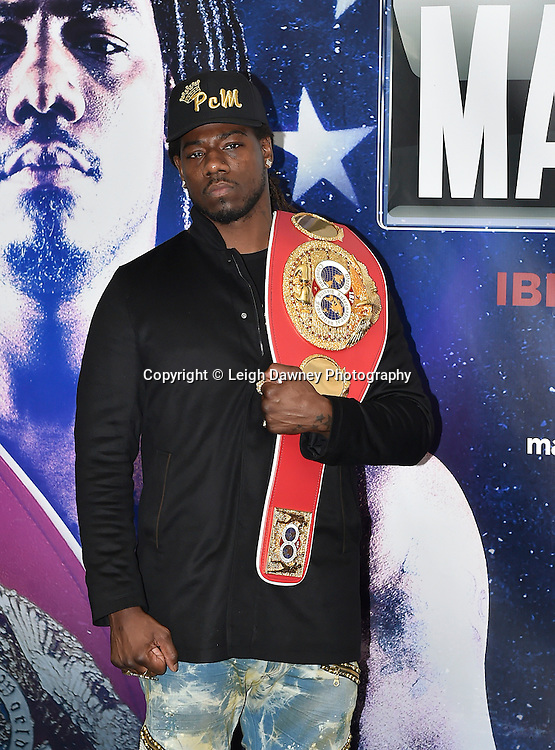 Charles Martin poses for the media at the press conference at the Dorchester Hotel, Park Lane, London on19th February 2016 ahead of the IBF World Heavyweight Title fight against Anthony Joshua. Photo credit: Leigh Dawney
