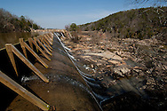 "Diversion wall for Great Falls Reservoir, Great Falls, SC. At right is the ""Great Falls of the Catawba"" , now dry due to the 1907 diversion, which DukeEnergy   will release water through for recreational  paddlers as part of Duke's Hydroelectric Relicensing Agreement, as required by the Federal Energy Regulatory Commission. The town of Great Falls is eager for this to boost its tourism economy."