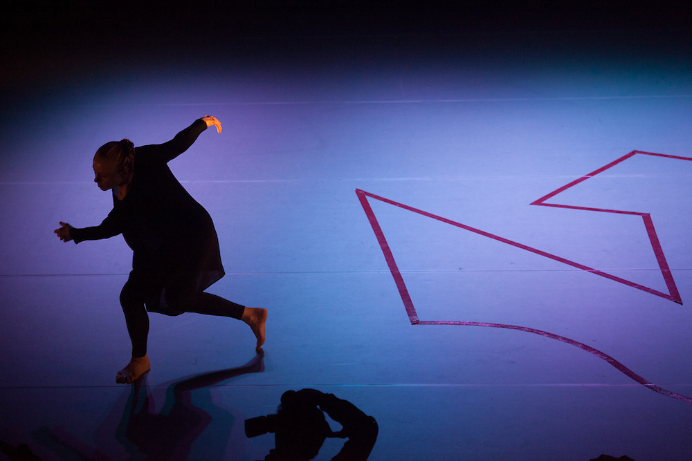"Gloria McLean performing at her choreography ""Invisible Transfer"" at Keimyung University in Daegu."