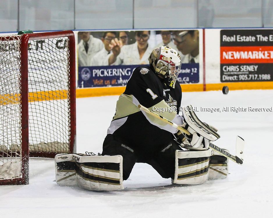 NEWMARKET, ON - MAR 6,  2017: Ontario Junior Hockey League, playoff game between the Trenton Golden Hawks and the Newmarket Hurricanes. , Goaltender Chris Janzen #1 of the Trenton Golden Hawks makes the save during the third period<br /> (Photo by Ray MacAloney / OJHL Images)