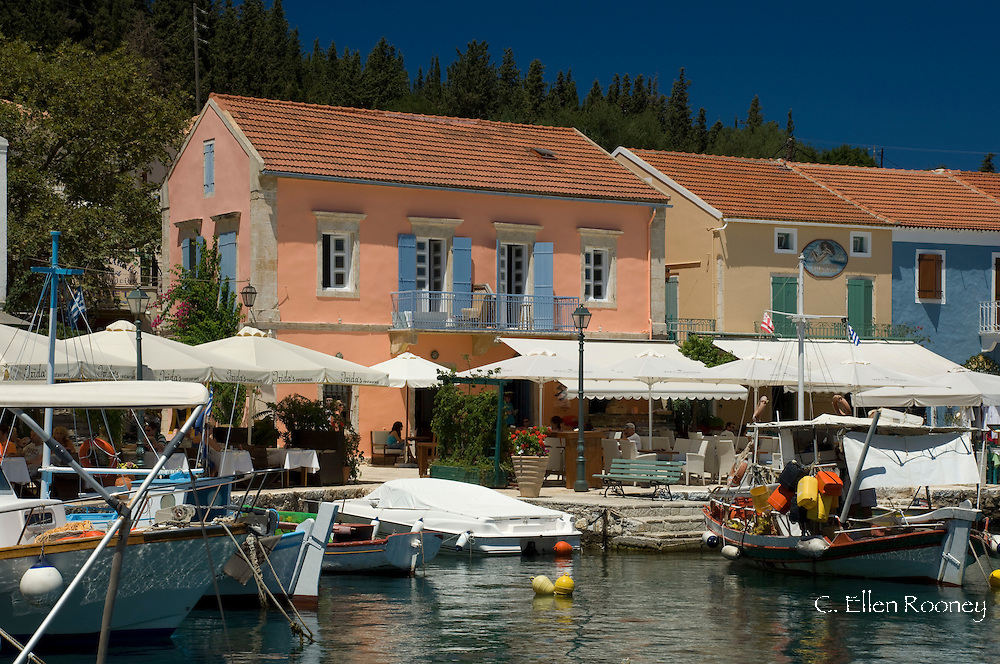 Fishing boats and yachts in the harbour in Fiskardo, Kefalonia, The Ionian Islands, Greece