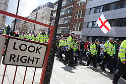 © Licensed to London News Pictures . 07/09/2013 . London , UK . The EDL march . The EDL hold a march and demonstration in London today (Saturday 7th September 2013) . Photo credit : Joel Goodman/LNP