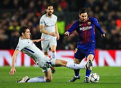Andreas Christiansen of Chelsea tackles Lionel Messi of Barcelona  - Mandatory by-line: Matt McNulty/JMP - 14/03/2018 - FOOTBALL - Camp Nou - Barcelona, Catalonia - Barcelona v Chelsea - UEFA Champions League - Round of 16 Second Leg