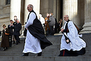 © Licensed to London News Pictures. 04/02/2013. City of London, UK Justin Welby (L), stands on the steps of St Pauls Cathedral with his wife, Caroline Gillian, in London for the first time as the Archbishop of Canterbury, He takes the title today, 4th February 2013, following formal election by the College of Canons on January 10, Bishop of Durham Justin Welby becomes Archbishop of Canterbury, a title conferred upon him by the Archbishop of York on behalf of his fellow bishops and the wider Church.. Photo credit : Stephen Simpson/LNP
