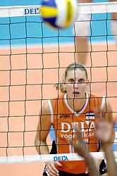 14-10-2006 VOLLEYBAL: DELA TROPHY: NEDERLAND - CUBA: DEN BOSCH<br /> De Nederlandse volleybalsters hebben ook de tweede wedstrijd in de testserie tegen Cuba, met als inzet de Dela Cup, gewonnen. In Den Bosch zegevierde Oranje zaterdagavond opnieuw met 3-2 / Ingrid Visser<br /> ©2006-WWW.FOTOHOOGENDOORN.NL