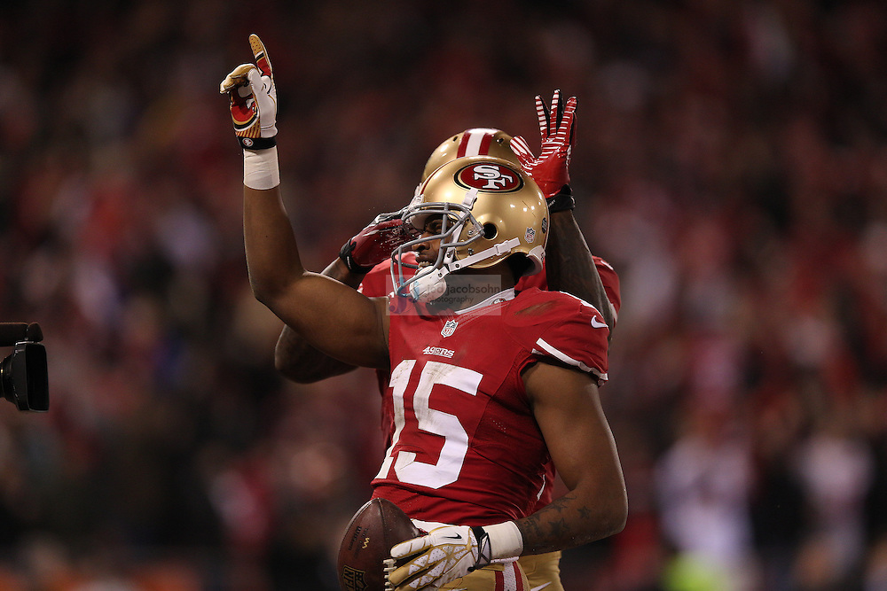 San Francisco 49ers wide receiver Michael Crabtree (15) celebrates after catching a touchdown against the Green Bay Packers during a NFL Divisional playoff game at Candlestick Park in San Francisco, Calif., on Jan. 12, 2013. The 49ers defeated the Packers 45-31. (AP Photo/Jed Jacobsohn)