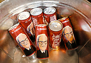 Cherry Coca-Cola sold only in China featuring an image of Berkshire Hathaway CEO Warren Buffett are on sale at the shareholder shopping day as part of the Berkshire Hathaway annual meeting weekend in Omaha, Nebraska May 5 2017. REUTERS/Rick Wilking