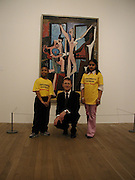 National children's Art day. Nicholas Setota with his shadows, Mariya Bhukhun and Anton Peterson. © Copyright Photograph by Dafydd Jones 66 Stockwell Park Rd. London SW9 0DA Tel 020 7733 0108 www.dafjones.com