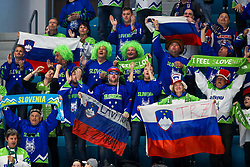 The fans of Slovenia during ice hockey match between Slovenia and Lithuania at IIHF World Championship DIV. I Group A Kazakhstan 2019, on May 5, 2019 in Barys Arena, Nur-Sultan, Kazakhstan. Photo by Matic Klansek Velej / Sportida