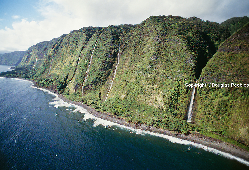 Waterfall, seacliff, North Kahala Coast, Island of Hawaii