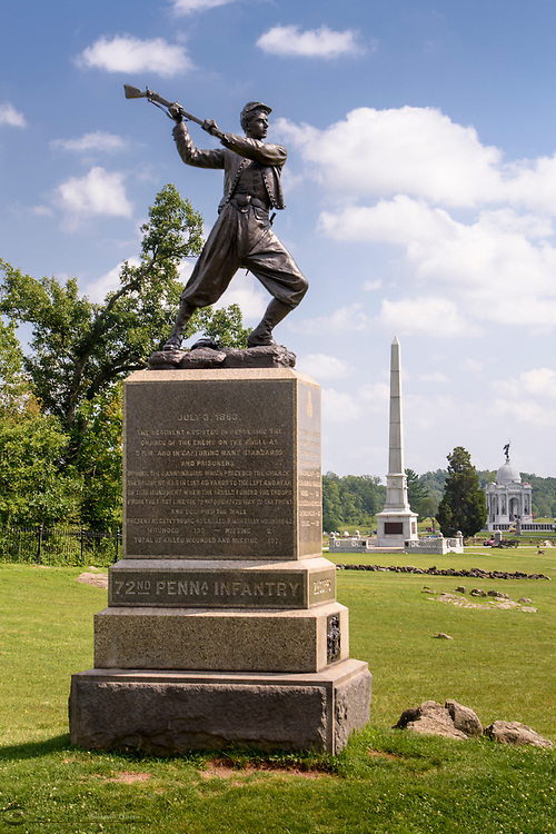 Memorial for 72nd Pennsylvania Infantry, Gettysburg National Military Park, Pennsylvania, USA.