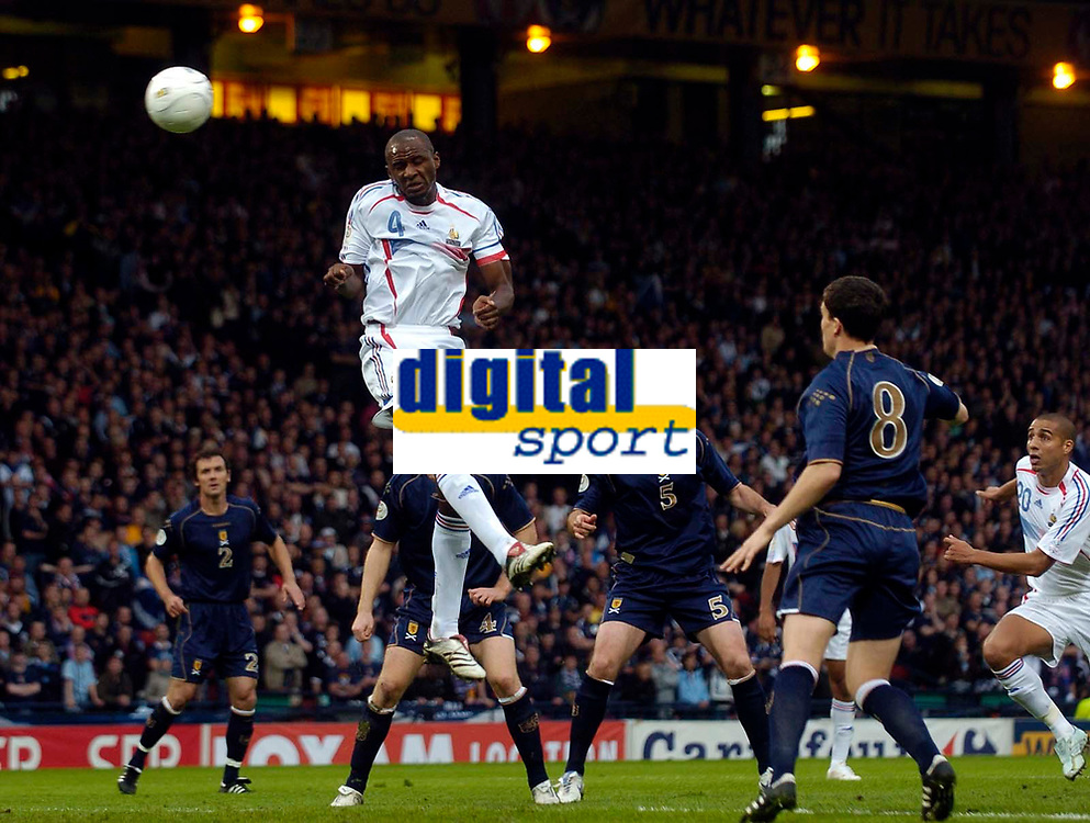 Photo: Jed Wee.<br />Scotland v France. UEFA European Championships 2008 Qualifying. 07/10/2006.<br /><br />France's Patrick Vieira puts the ball in the back of the net in the first half but has the effort disallowed.
