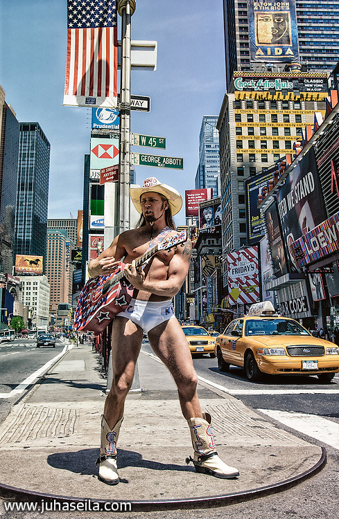 Naked Cowboy, is an American street performer whose pitch is on New York City's Times Square. May 6, 2002