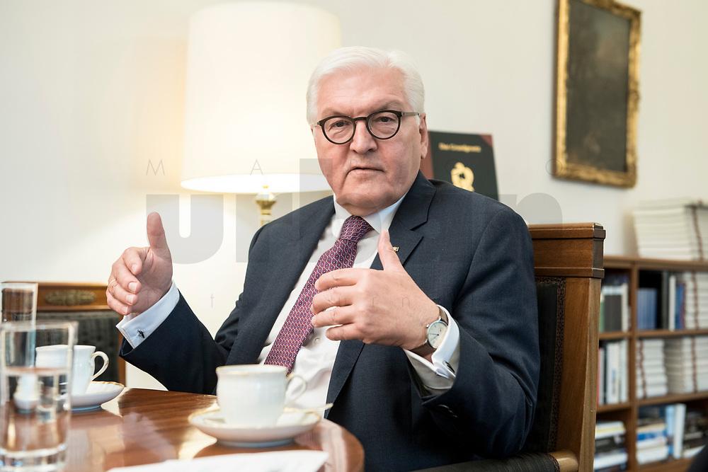 02 JUL 2018, BERLIN/GERMANY:<br /> Frank-Walter Steinmeier, Bundespraesident, waehrend einem Interview, Amtszimmer des Bundespraesidenten, Schloss Bellevue<br /> IMAGE: 20180702-01-016<br /> KEYWORDS: Bundespräsident