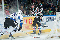 KELOWNA, CANADA - OCTOBER 9: Chaz Reddekopp #29 of Victoria Royals and Kole Lind #16 of Kelowna Rockets stop behind the net on OCTOBER 9, 2015 at Prospera Place in Kelowna, British Columbia, Canada.  (Photo by Marissa Baecker/Getty Images)  *** Local Caption *** Chaz Reddekopp; Kole Lind;