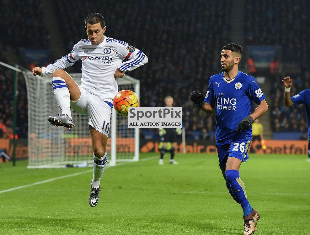Eden Hazard gets to the ball ahead of Riyad Mahrez (c) Simon Kimber | SportPix.org.uk