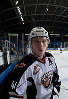 KELOWNA, CANADA - NOVEMBER 28:  Bowen Byram #44 of the Vancouver Giants stands at the bench during warm up against the Kelowna Rockets on November 28, 2018 at Prospera Place in Kelowna, British Columbia, Canada.  (Photo by Marissa Baecker/Shoot the Breeze)