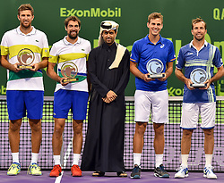 DOHA, Jan. 7, 2017  L-R) Fabrice Martin, Jeremy Cardy of France, President of the Qatar Tennis Federation Nasser Al-Khelaifi, Vasek Pospisil of Canada and Radek Stepanek of the Czech Republic pose for a photo during the awarding ceremony for ATP Qatar Open tennis tournament doubles at the Khalifa International Tennis Complex in Doha, capital of Qatar on Jan. 6, 2017. Jeremy Chardy and Fabrice Martin claimed the title with 2-0. (Credit Image: © Nikku/Xinhua via ZUMA Wire)