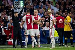 (L-R) Klaas Jan Huntelaar of Ajax, coach Erik ten Hag of Ajax, Donny van de Beek of Ajax, Hakim Ziyech of Ajax during the UEFA Champions League group E match between Ajax Amsterdam and AEK FC at the Johan Cruijff Arena on September 19, 2018 in Amsterdam, The Netherlands