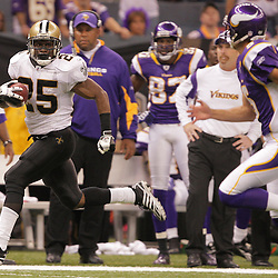 2008 October, 06: New Orleans Saints running back Reggie Bush (25) returns a punt 71-yards for a touchdown as Minnesota Vikings punter Chris Kluwe (5) pursues during a week five regular season game between the Minnesota Vikings and the New Orleans Saints for Monday Night Football at the Louisiana Superdome in New Orleans, LA.
