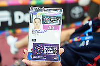 Monika Garus SO Poland athlete shows her credential during third day of the Special Olympics World Games Los Angeles 2015 on July 27, 2015 at South Hall on Los Angeles Convention Centre in  Los Angeles, USA.<br /> USA, Los Angeles, July 27, 2015<br /> <br /> Picture also available in RAW (NEF) or TIFF format on special request.<br /> <br /> For editorial use only. Any commercial or promotional use requires permission.<br /> <br /> Adam Nurkiewicz declares that he has no rights to the image of people at the photographs of his authorship.<br /> <br /> Mandatory credit:<br /> Photo by &copy; Adam Nurkiewicz / Mediasport