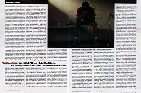 Sports Illustrated cover story on child molesters infiltrating youth sports.