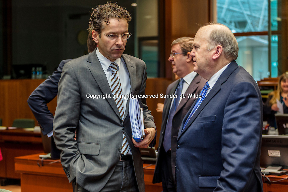The European Union's Economy and Finance Ministers convene in Brussels on Tuesday, November 13, 2012, to discuss ongoing dossiers aimed at strengthening the economic governance and financial framework of the EU.Finance Minister of the Netherlands, Jeroen Dijsselbloem  talks with Irish Finance Minister Michael Noonan (right)
