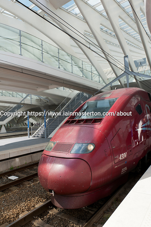 Thalys high speed train at new Liège-Guillemins modern railway station designed by architect Santiago Calatrava  in Liege Belgium
