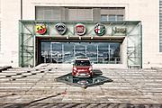 Loghi del gruppo Fiat all'ingresso della palazzina uffici di Mirafiori, Torino.
