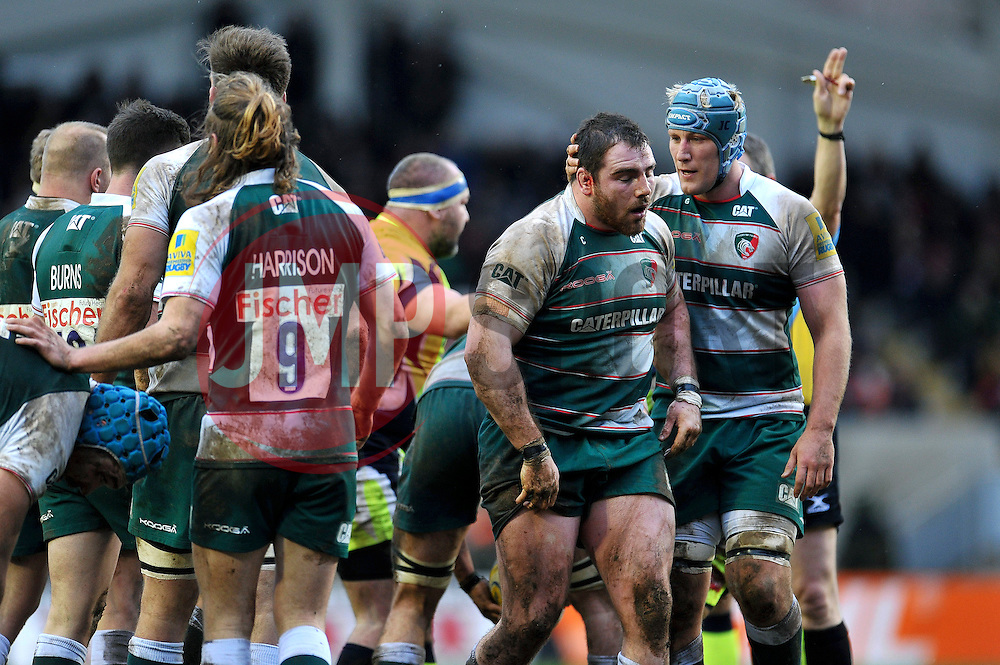 Jordan Crane of Leicester Tigers congratulates team-mate Fraser Balmain on a turnover - Mandatory byline: Patrick Khachfe/JMP - 07966 386802 - 06/02/2016 - RUGBY UNION - Welford Road - Leicester, England - Leicester Tigers v Sale Sharks - Aviva Premiership.