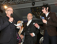 (L-R) Nick Headon, MIck Jones and John Cooper Clark.  The Silver Clef Lunch 2013 in aid of  Nordoff Robbins held at the London Hilton, Park Lane, London.<br /> Friday, June 28, 2013 (Photo/John Marshall JME)