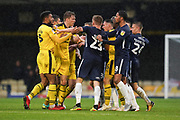 Tensions mount between Oxford United and Southend United during the EFL Sky Bet League 1 match between Southend United and Oxford United at Roots Hall, Southend, England on 6 October 2018.