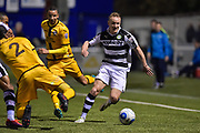 Forest Green Rovers Midfielder, Marcus Kelly (10) tackles by Sutton United Defender, Kevin Amankwaah (2) during the Vanarama National League match between Sutton United and Forest Green Rovers at Gander Green Lane, Sutton, United Kingdom on 14 March 2017. Photo by Adam Rivers.