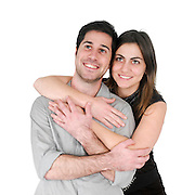 optimistic couple On white Background