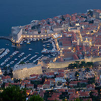 View from the top of Mount Srd and the cable car station of the UNESCO World Heritage site of Dubrovnik's Old Town on the Dalmatian Coast in Croatia.
