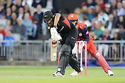 Leicestershire Foxes Ben Mike  during the Vitality T20 Blast North Group match between Lancashire Lightning and Leicestershire Foxes at the Emirates, Old Trafford, Manchester, United Kingdom on 30 August 2019.