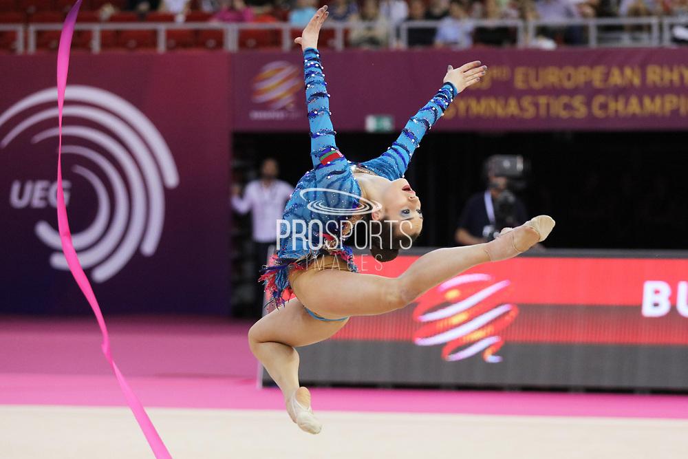 Katsyarina Halkina, Belarus, during the 33rd European Rhythmic Gymnastics Championships at Papp Laszlo Budapest Sports Arena, Budapest, Hungary on 20 May 2017.  Belarus wins silver medal. Photo by Myriam Cawston.