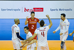 09.01.2016, Max Schmeling Halle, Berlin, GER, CEV Olympia Qualifikation, Frankreich vs Polen, im Bild Earvin Ngapeth (#9, FRA), Je nia Grebennikov (#2, FRA) und Kevin Tillie (#7, FRA) // during 2016 CEV Volleyball European Olympic Qualification Match between France and Poland at the Max Schmeling Halle in Berlin, Germany on 2016/01/09. EXPA Pictures © 2016, PhotoCredit: EXPA/ Eibner-Pressefoto/ Wuechner<br /> <br /> *****ATTENTION - OUT of GER*****