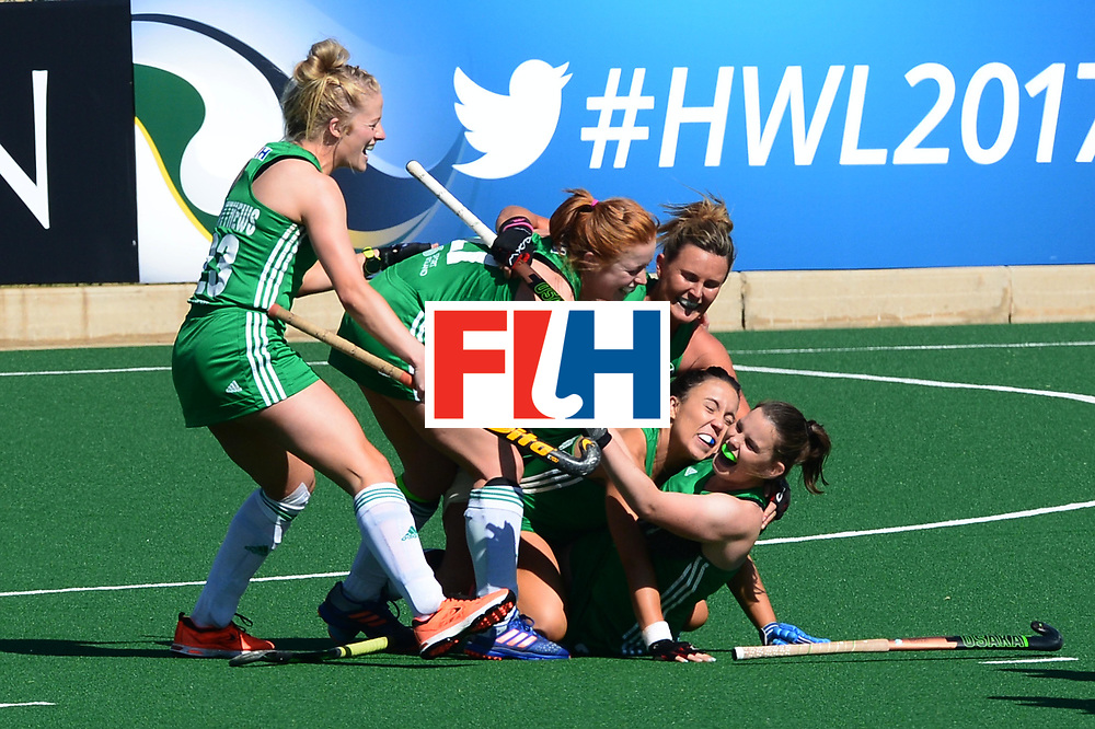 JOHANNESBURG, SOUTH AFRICA - JULY 22: Lizzie Colvin of Ireland celebrates with her team mates during day 8 of the FIH Hockey World League Women's Semi Finals 7th-8th place match between India and Ireland at Wits University on July 22, 2017 in Johannesburg, South Africa. (Photo by Getty Images/Getty Images)