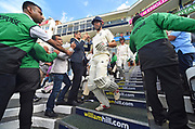Alastair Cook of England walks out to bat after tea for his final test match innings before his international retirement during day 3 of the 5th test match of the International Test Match 2018 match between England and India at the Oval, London, United Kingdom on 9 September 2018.