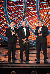 March 4, 2018 - Hollywood, California, U.S. - Mark Weingarten, Gregg Landaker, and Gary A. Rizzo accept the Oscar for achievement in sound mixing, for work on Dunkirk during the live ABC Telecast of The 90th Oscars at the Dolby Theatre in Hollywood. (Credit Image: ? Aaron Poole/AMPAS via ZUMA Wire/ZUMAPRESS.com)